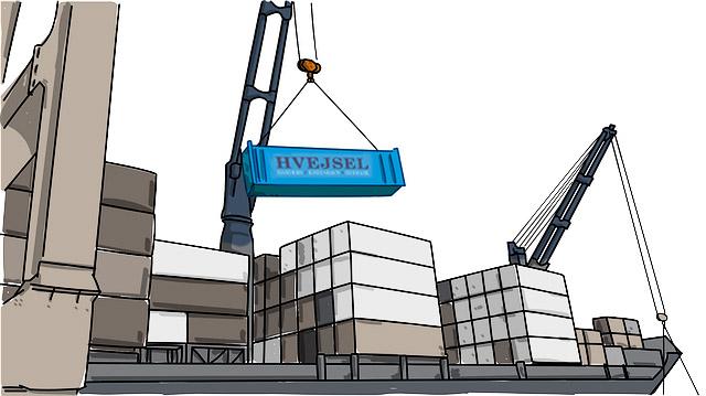 Hvejsel - Oversøisk flytning - Container skib